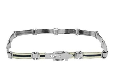 Gucci Silver Belt With white and Navy Enamel