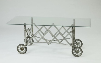 "Industrial cart and glass coffee table, 54""w"