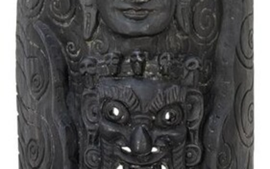 Large Carved and Painted Asian Mask. 20th century.