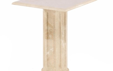 (-), Marble side table on column leg with...