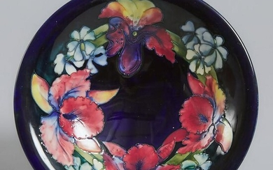 Moorcroft Orchids Shallow Bowl, 1960s, height 2.2 in