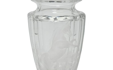 Moser Bohemian Etched and Cut Glass Vase.