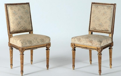 PAIR LOUIS XVI STYLE CARVED GILT WOOD SIDE CHAIRS