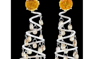 PAIR OF CITRINE AND COLORED DIAMOND SPIRAL EARRINGS, set wit...