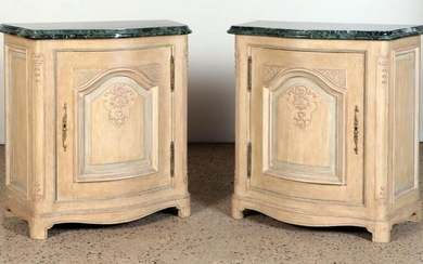 PAIR PAINTED CARVED OAK FRENCH CONSOLE CABINETS