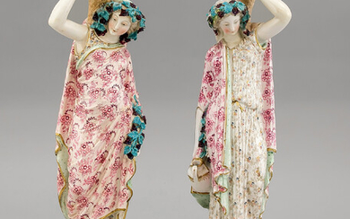 Pair of figural candlesticks, w. England, 20th c.,...