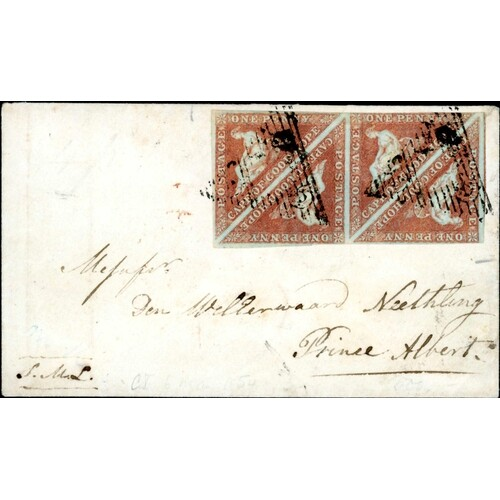 RARE 1855 COVER WITH BLOCK OF FOUR 1d ON SLIGHTLY BLUED PAPE...