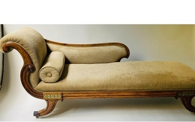 REGENCY CHAISE LONGUE, early 19th century rosewood and brass...