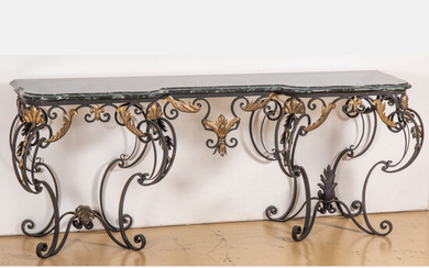 Rococo Style Wrought Metal and Marble Top Console Table