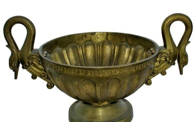 Swan Bowl, Solid Brass, Midcentury Design, Double
