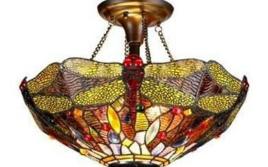 Tiffany Style Dragonfly 2 Light Stained Glass Ceiling
