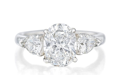 Tiffany & Co. Three-Stone Diamond Ring with 1.60-Carat Oval Center, GIA Certified