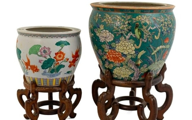 Two Chinese Famille Rose Porcelain Jardinieres Height