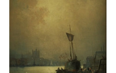 William Anslow Thornley (1847-1907) A Misty Day signed, oil...