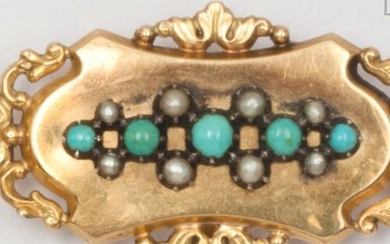 Yellow gold and poly-lobed silver brooch, decorated with turquoise cabochons...