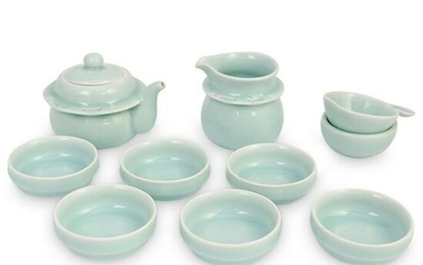 (10 Pc) Chinese Glazed Ceramic Longquan Celadon Tea Set