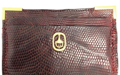 1970s GUCCI Red Animal Skin and 18K Yellow Gold Card