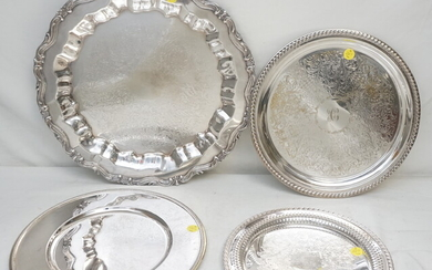 4 SILVERPLATE ROUND SERVING TRAYS