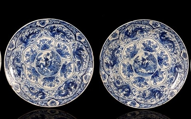 (-), 4 earthenware dishes with blue decoration with...