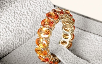 9.70 Carat Magnificent Yellow and Orange Natural Sapphire Eternity Band - 14 kt. Yellow gold - Ring - 9.70 ct Sapphire - NO RESERVE