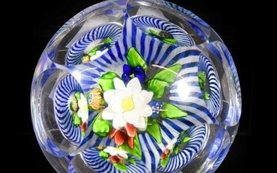 A Baccaret Faceted Glass Upright Bouquet Paperweight, circa 1850, the...