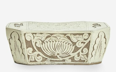 A Chinese Cizhou carved-slip decorated pottery pillow