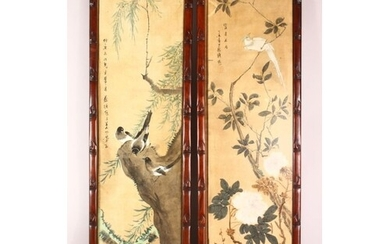 A LARGE PAIR OF HARDWOOD FRAMED CHINESE SCROLL PAINTINGS, ea...
