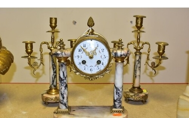 A LATE 19TH CENTURY GILT METAL AND MARBLE CLOCK GARNITURE, t...
