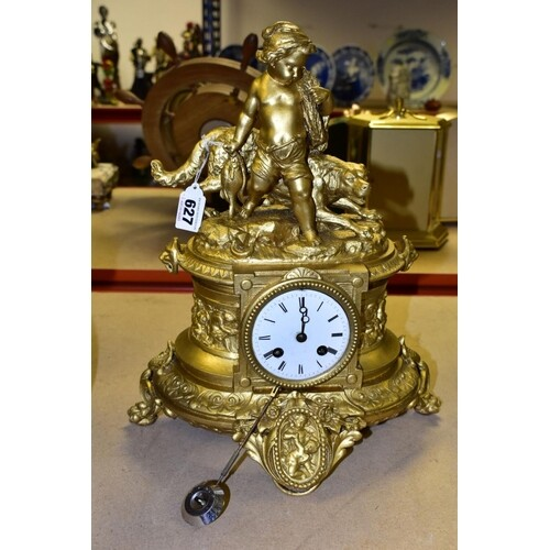 A LATE 19TH CENTURY GILT METAL FIGURAL MANTEL CLOCK, OF OVAL...