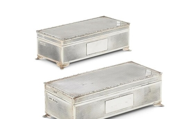 A MATCHED PAIR OF SILVER RECTANGULAR CIGARETTE BOXES BY HARMAN BROTHERS