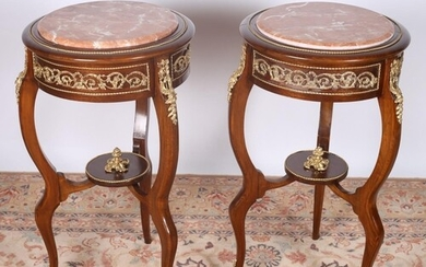 A PAIR OF CONTINENTAL STAINED BEECHWOOD AND GILT BRASS MOUNT...