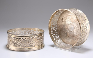 A PAIR OF WILLIAM IV SILVER WINE COASTERS, by