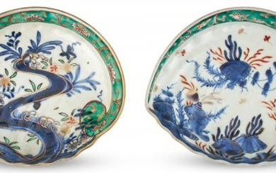 A Pair of Japanese Porcelain Shell-form Dishes