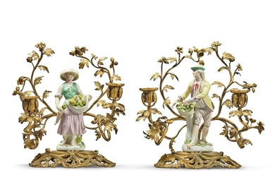A Pair of Porcelain Figures of Vegetable Sellers, Mounted as Gilt Bronze Candelabra, the Porcelain Circa 1755 and Later, the Gilt Bronze Later