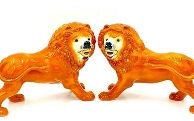 A Pair of Staffordshire Lions