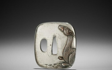 A SILVERED TSUBA WITH A RECUMBENT DEER