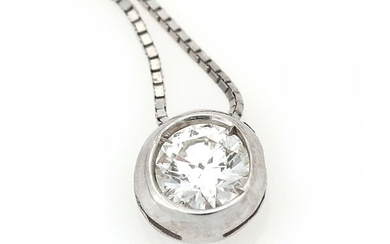 A diamond necklace with a pendant set with a brilliant-cut diamond, mounted in 18k white...