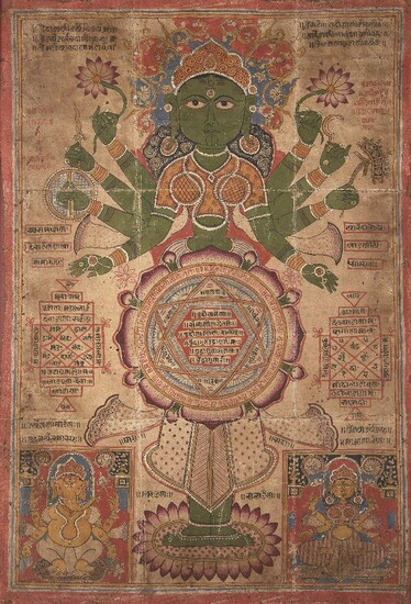 A large Jain tantric painting, late 19th-early 20th century, opaque pigment and lacquer on cloth, depicting a green eight-armed goddess holding lotus flowers, possibly an interpretation of Tara, inscriptions either side, glazed and framed, 65 x 44cm.