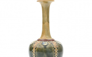 A mainly green glazed stoneware vase with elongated neck, decorated with flower pattern, stamped underneath and with model number 8412.