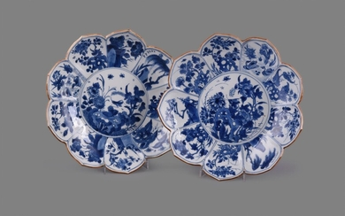 A pair of Chinese porcelain blue and white lotus flower shaped dishes