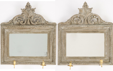 A pair of neo-rococo mirror sconcec, late 19th century.
