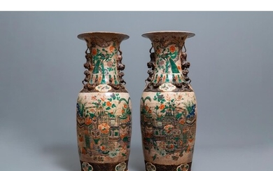 A pair of very large Chinese Nanking crackle-glazed famille ...