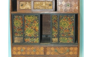 A walnut and parquetry Oriental jewellery cabinet, the recta...