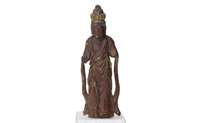 A wooden sculture of a buddhisattva, Qing dynasty.