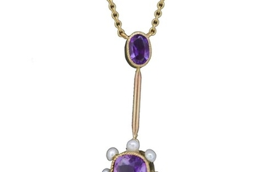 AMETHYST AND PEARL PENDANT NECKLACE, the amethyst top suspen...