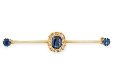 AN ANTIQUE SAPPHIRE AND DIAMOND BAR BROOCH in yellow