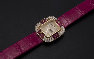 AUDEMARS PIGUET, A LADIES YELLOW GOLD WRISTWATCH SET WITH DIAMONDS AND RUBIES AND A PAVED DIAL