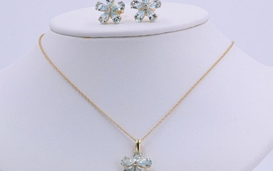Aelra Joaillerie - 14 kt. Yellow gold - Earrings, Necklace with pendant, Pendant - 2.60 ct Aquamarine - Diamond