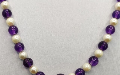 Amethyst-Akoya cultured pearl necklace, necklace made of finely polished natural amethyst spheres