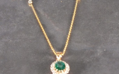 An emerald and diamond cluster pendant, the oval central...